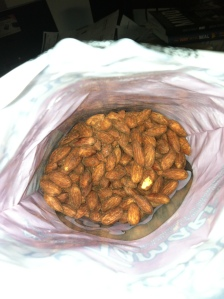 Ready to eat almonds in a bag.