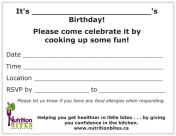 Nutrition Bites Birthday Party Invitation - Back