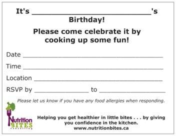 Nutrition Bites Birthday Party Invitation - Back